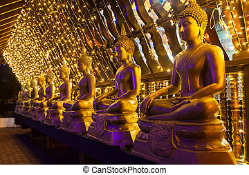 Seema Malaka Gangaramaya Temple - Buddha statues at the...