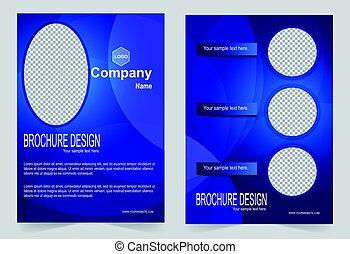 Brochure template, Flyer design, royal blue background.