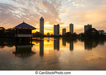 Colombo city skyline view - Beira lake and Colombo city...