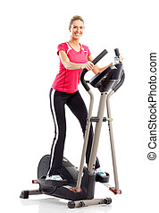 Gym and Fitness - Gym Fitness Smiling young woman working...