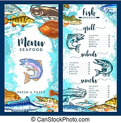 Vector menu for seafood or fish restaurant - Seafood and...