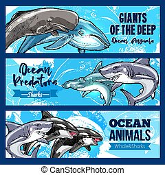 Big giant animals of deep ocaen vector banners set