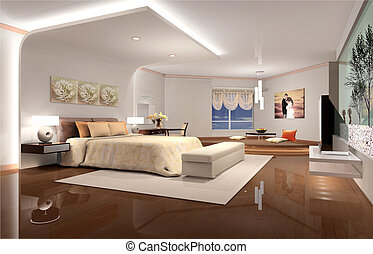 3D rendering of home interior focused on bed room