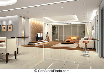 Interior living-room - Interior fashionable living-room 3D...