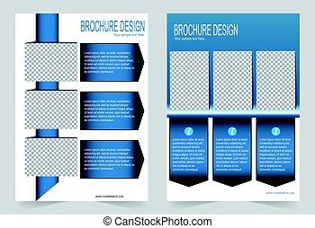 Brochure template, Flyer design navy blue template -...