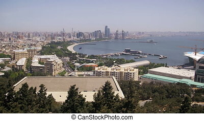 Panoramic Vew from Above to the City of Baku, Azerbaijan -...