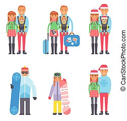 Travel winter vacation time people couples vector...
