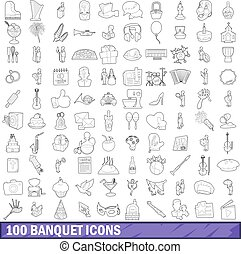 100 banquet icons set, outline style - 100 banquet icons set...