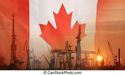 Industrial concept with Canada flag at sunset