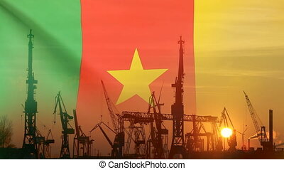 Industrial concept with Cameroon flag at sunset, silhouette...