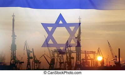 Industrial concept with Israel flag at sunset, silhouette of...
