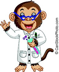 Monkey Conducting a Laboratory Experiment - illustration of...