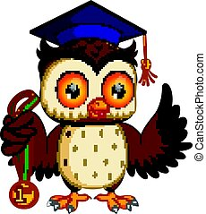 owl in the graduate's - illustration of owl in the...