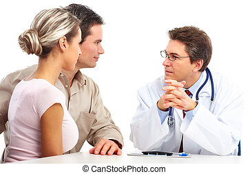 doctor and elderly couple - Medical doctor and young couple...