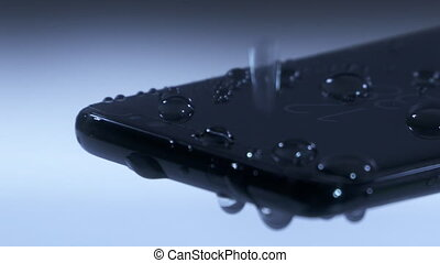 Water drops on smart phone screen