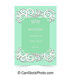 Invitation card, wedding card with ornamental on green background