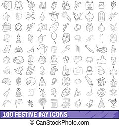 100 festive day icons set, outline style