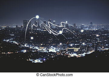 cidade, Papel parede, noturna