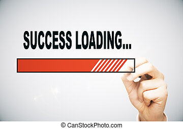 Success loading - Hand drawing loading success bar on light...
