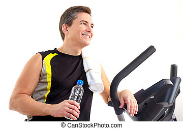 Smiling mature strong man working out. Isolated over white background