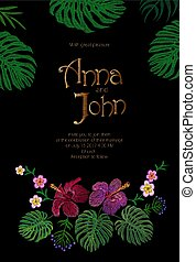 Wedding Invitation Design with Jungle Hawaii flowers. Save the Date Card with Tropical Exotic Palm Monstera Leaves. Hibiscus, Plumeria, Frangipani golden embroidery vector illustration