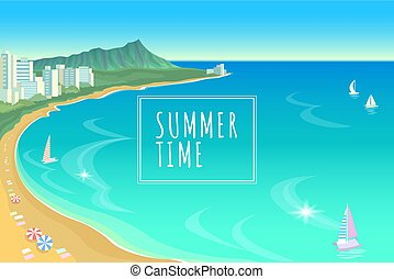 Hawaii ocean bay blue water sunny sky summer travel vacation background. Boats sand beach umbrellas hot day scene landscape view vector illustration