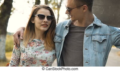 Hipsters Couple Walking - Young cute hipster couple walking...