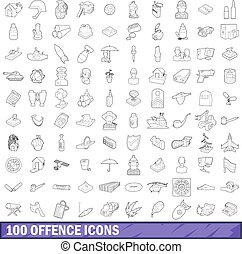 100 offence icons set, outline style - 100 offence icons set...