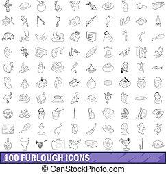 100 furlough icons set, outline style - 100 furlough icons...