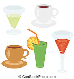 set with different drinks