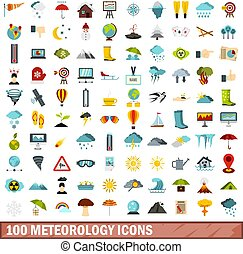 100 meteorology icons set, flat style - 100 meteorology...