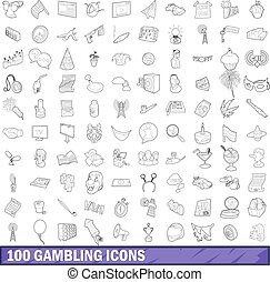 100 gambling icons set, outline style - 100 gambling icons...