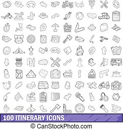 100 itinerary icons set, outline style - 100 itinerary icons...