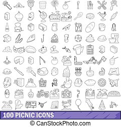 100 picnic icons set, outline style