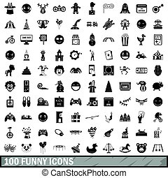 100 funny icons set, simple style
