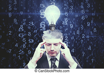 Eureka concept - Abstract image of pensive young businessman...
