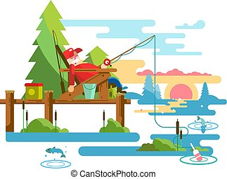Rest fishing design. Vacation and relaxation, outdoor...