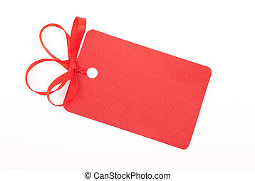 Red gift tag with bow