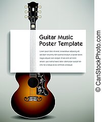 A guitar with a poster board in its strings