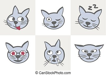 Cat characters. Different emotions.