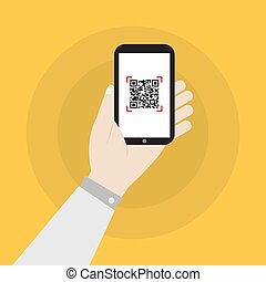 hand holding smartphone with qr code icon vector design