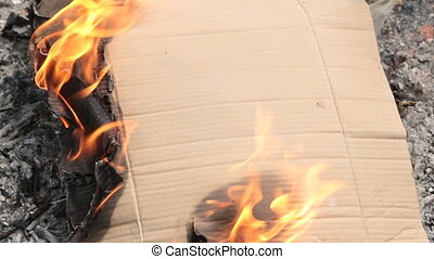 Moment of strong burning of cardboard. Environmental...