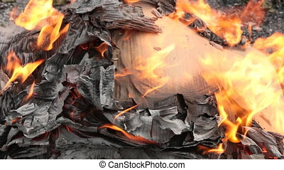 Moment of transformation of cardboard into ashes....