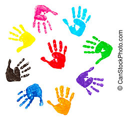 colorful hand prints - collection of colorful child hand...