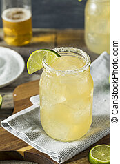 Refreshing Alcoholic Beer Margarita Beerita with Salt and...