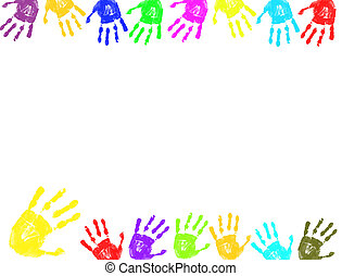 Colorful hand prints frame - Colorful hand prints...