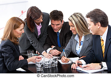 business people team - Smiling business people team working...