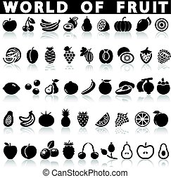 Fruit icons on a white background