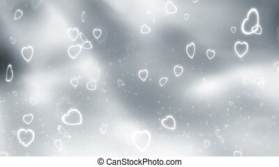 Blue gray love hearts and particles animated looping CG...