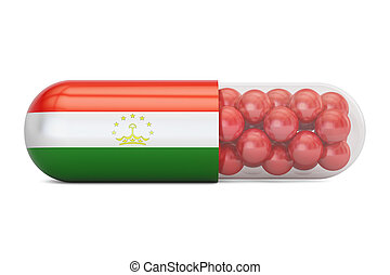 Pill capsule with Tajikistan flag, 3D rendering isolated on...